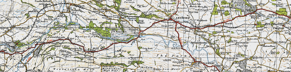 Old map of Wensley in 1947