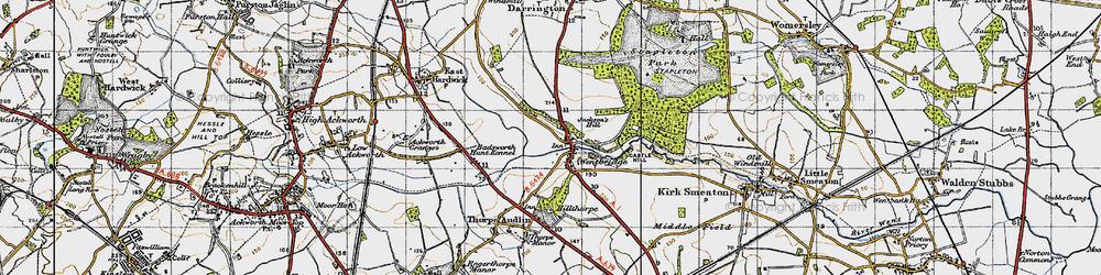 Old map of Wentbridge in 1947
