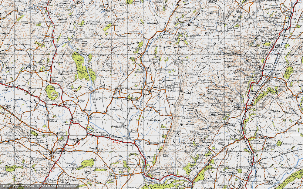 Old Map of Historic Map covering Asterton Prolley Moor in 1947