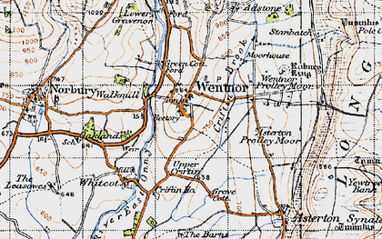 Old map of Asterton Prolley Moor in 1947