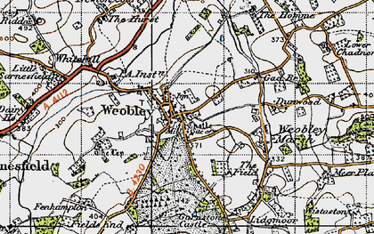 Old map of Weobley in 1947