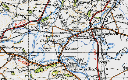 Old map of Aber Tanat in 1947