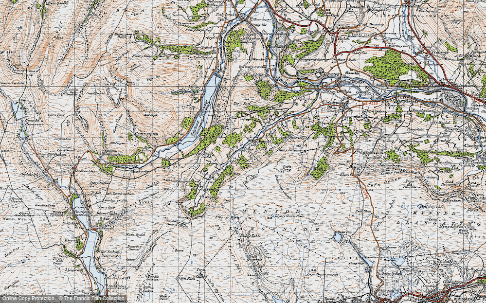 Old Map of Historic Map covering Afon Crawnon in 1947