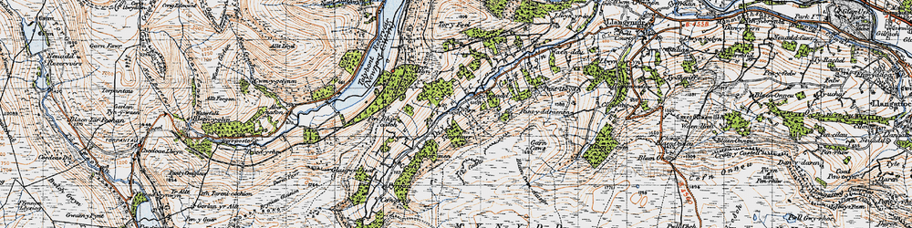 Old map of Afon Crawnon in 1947