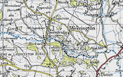 Old map of Werrington in 1946