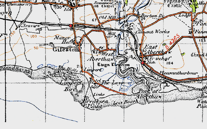 Old map of Leys Beach in 1947