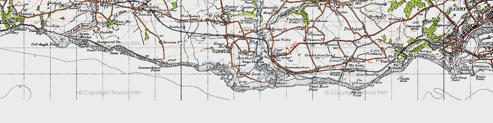 Old map of West Aberthaw in 1947