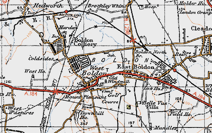 Old map of West Boldon in 1947