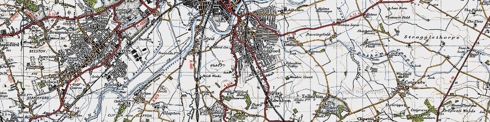 Old map of Wilford Hill in 1946