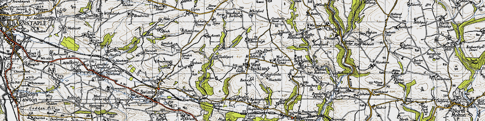 Old map of Accott in 1946