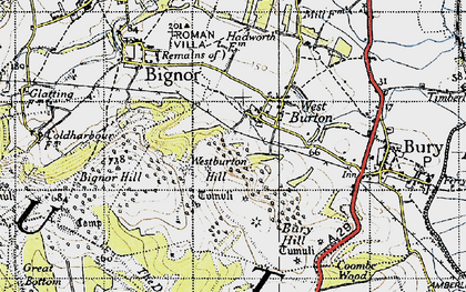 Old map of Westburton Hill in 1940