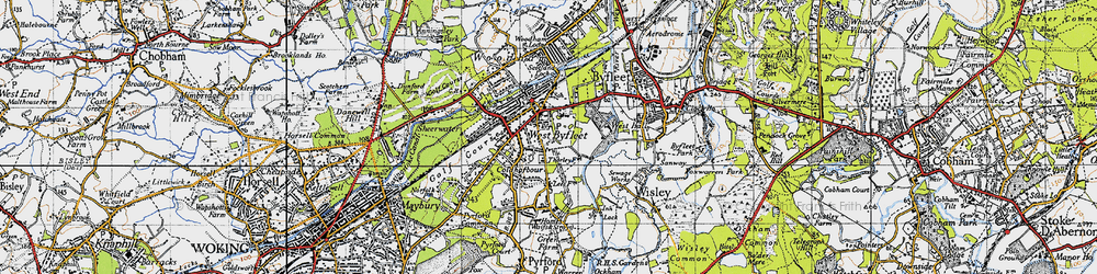 Old map of West Byfleet in 1940