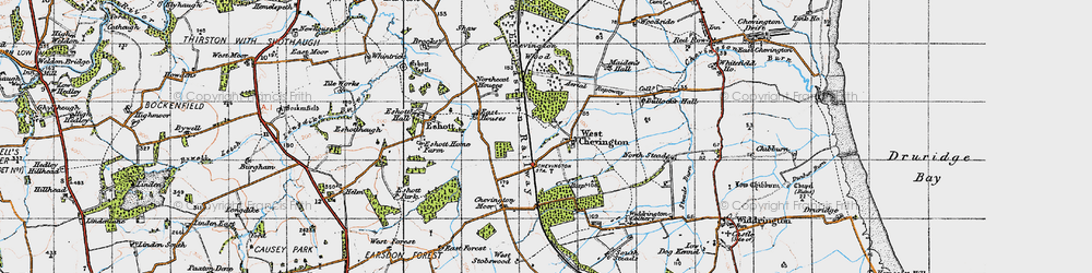 Old map of West Stobswood in 1947