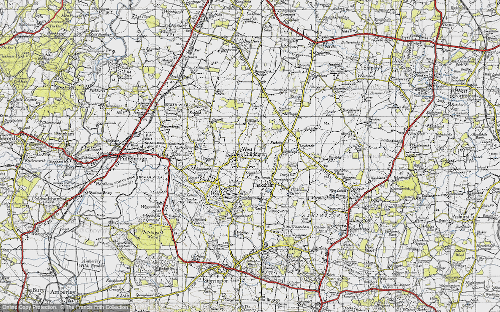 Old Map of Historic Map covering Woods Hill in 1940