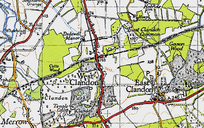 Old map of West Clandon in 1940
