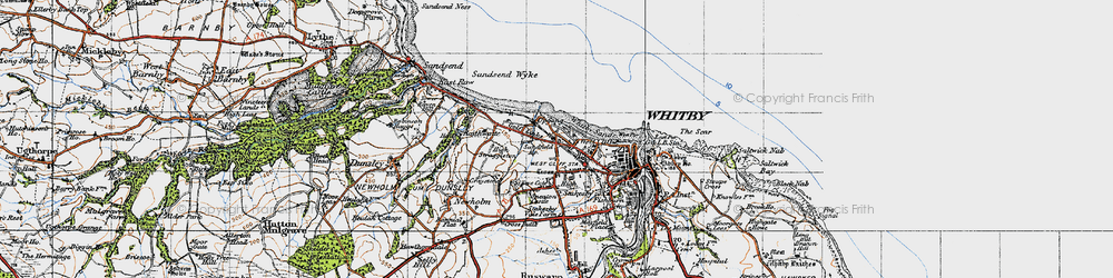 Old map of Whitby Sands in 1947