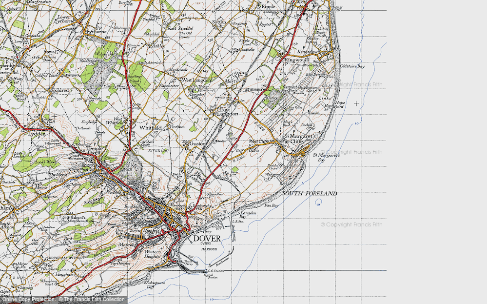 Old Map of Historic Map covering Langdon Bay in 1947
