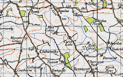 Old map of West Curry in 1946
