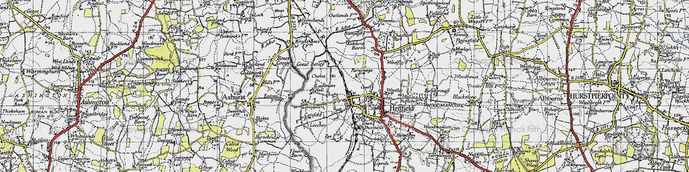 Old map of Wyckham Wood in 1940