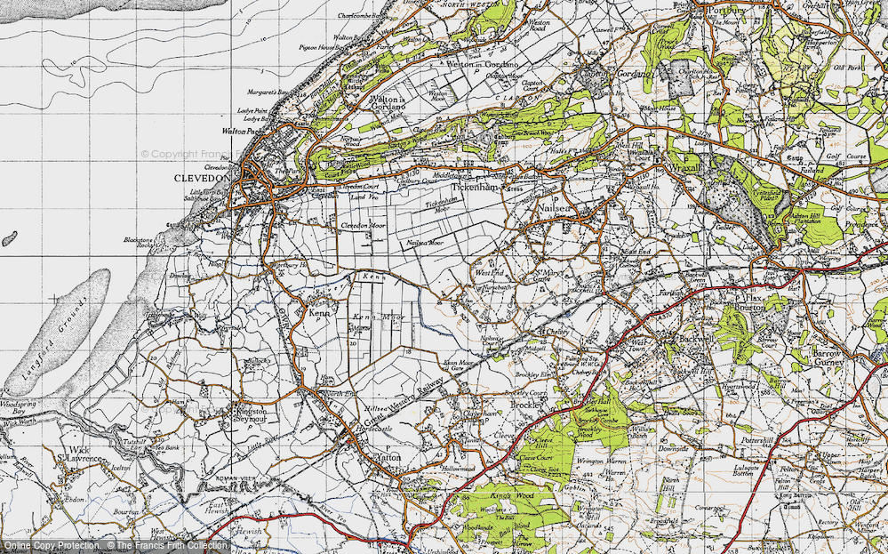Old Map of Historic Map covering Tickenham Moor in 1946