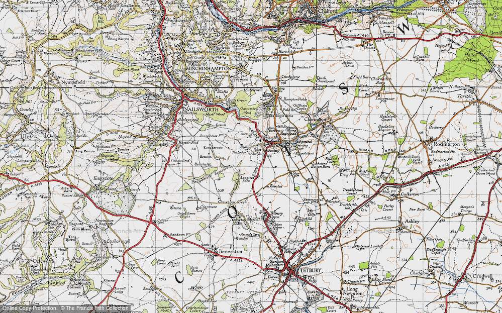 Old Map of Historic Map covering Avening Park in 1946