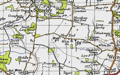 Old map of Wrentham West End in 1946