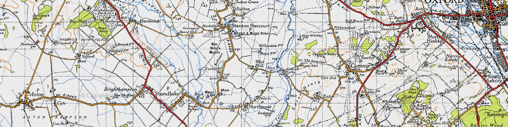Old map of Bablock Hythe in 1947