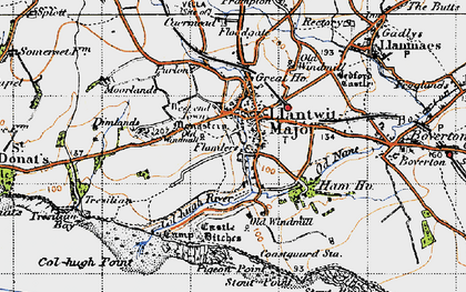Old map of Afon Col'-huw in 1947