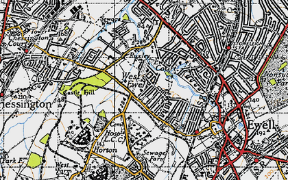 Old map of West Ewell in 1945