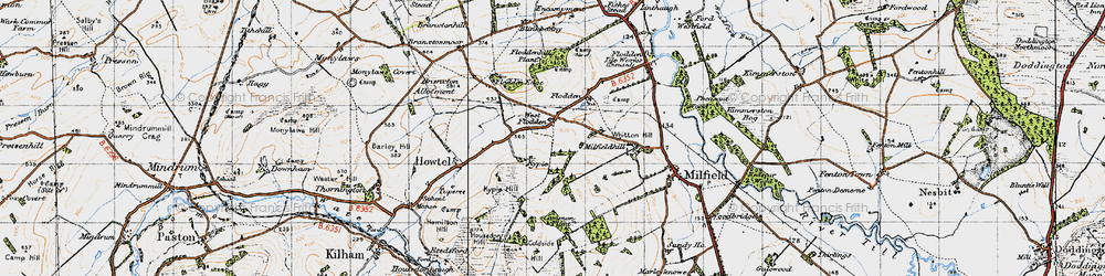 Old map of Whitton Hill in 1947