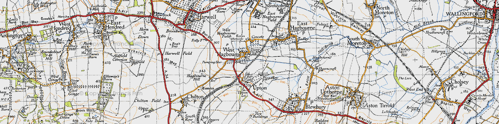 Old map of West Hagbourne in 1947