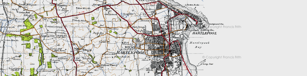 Old map of West Hartlepool in 1947