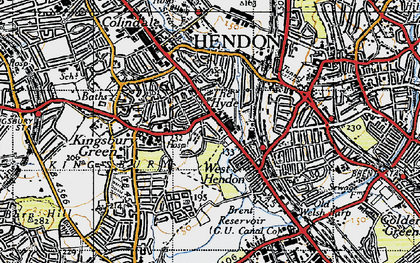 Old map of West Hendon in 1945