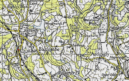 Old map of Balcombe Place in 1940