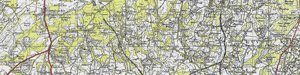 Old map of Ardingly Resr in 1940