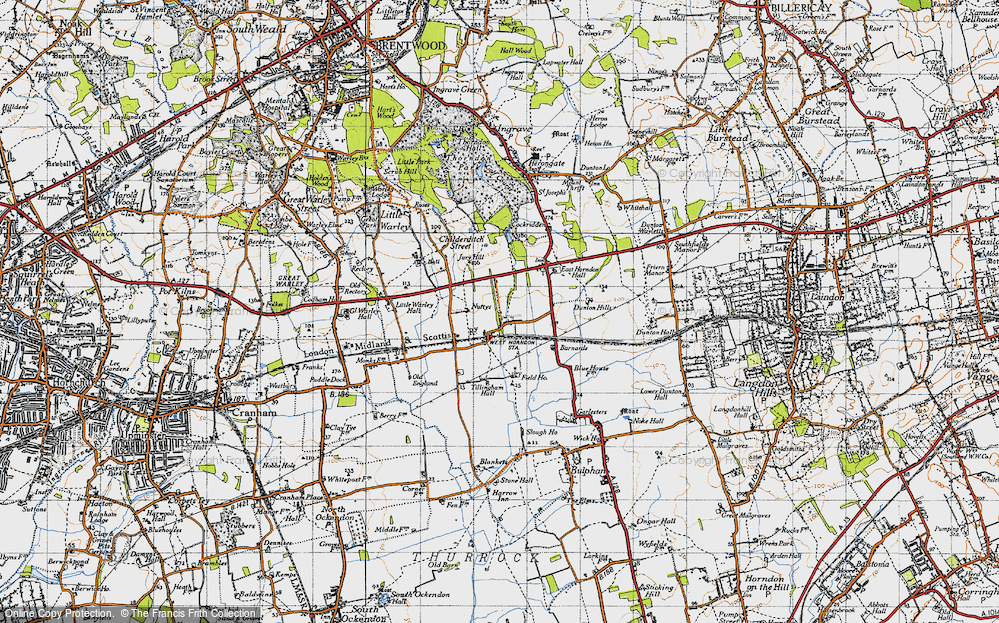 Old Map of Historic Map covering Tillingham Hall in 1946