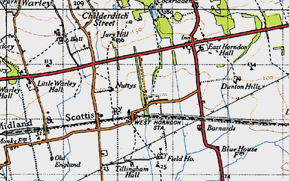 Old map of Tillingham Hall in 1946