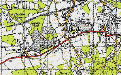 Old map of Woodcote Lodge in 1940