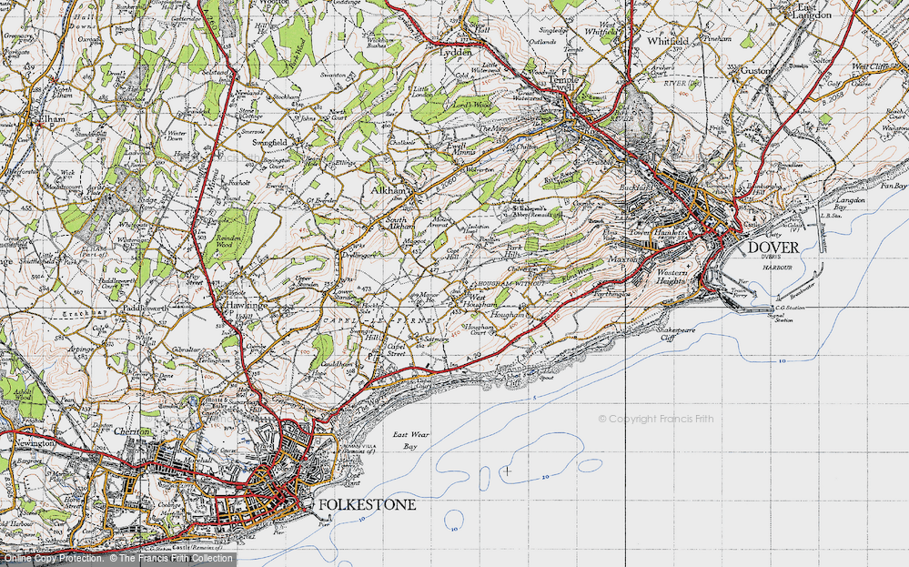 Old Map of West Hougham, 1947 in 1947
