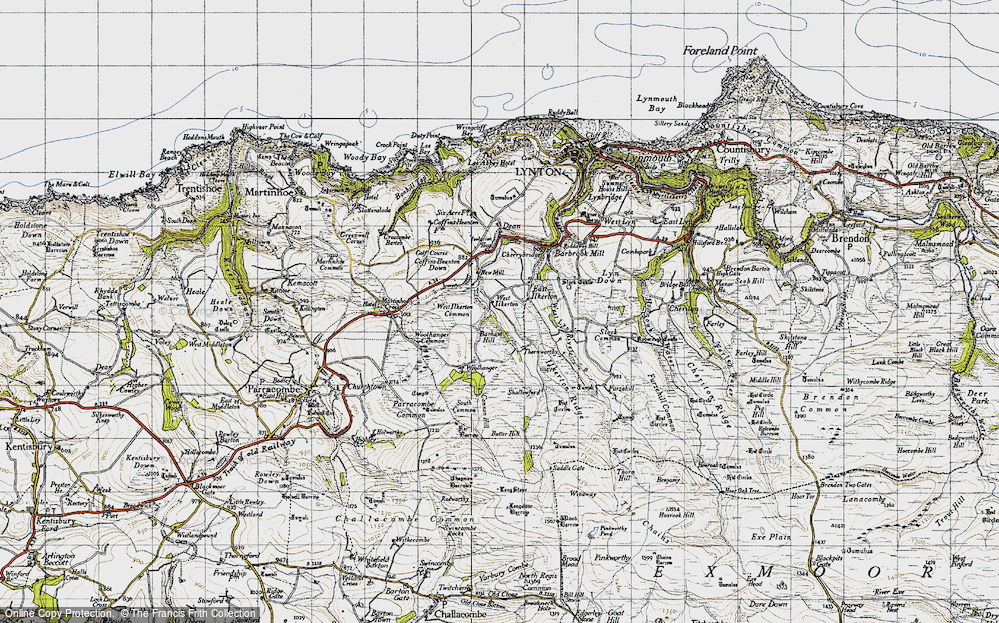 Old Map of Historic Map covering Barham Hill in 1946