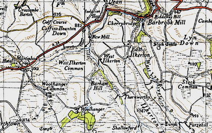 Old map of Barham Hill in 1946