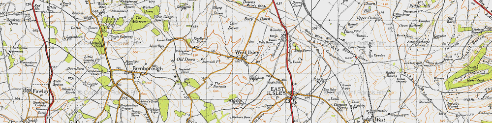 Old map of West Ilsley in 1947