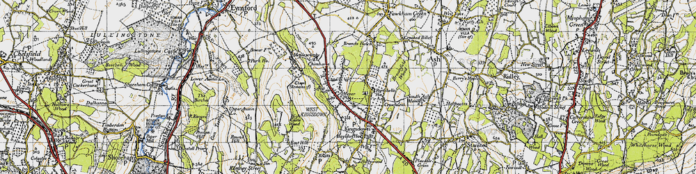 Old map of Brands Hatch Circuit in 1946