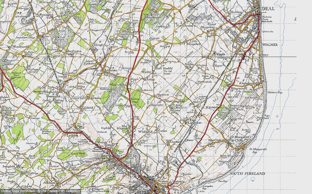 Old Map of West Langdon, 1947 in 1947