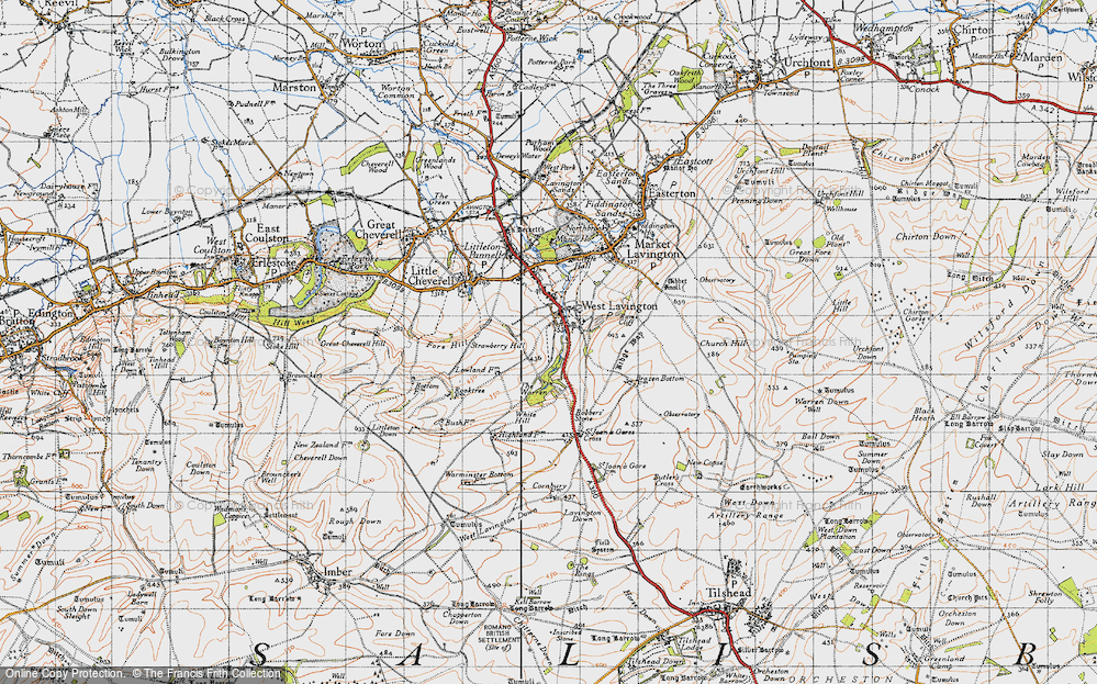 Old Map of Historic Map covering White Hill in 1940
