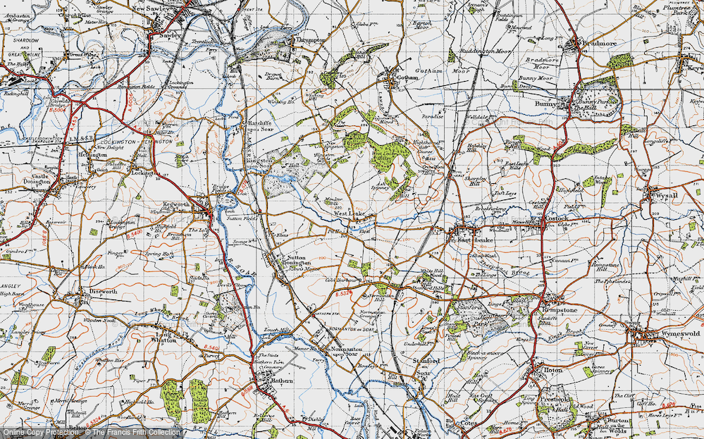 Old Map of Historic Map covering Ash Spinney in 1946