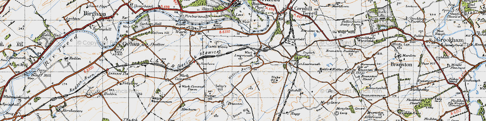Old map of Willow Burn in 1947