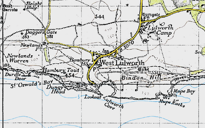 Old map of West Lulworth in 1946
