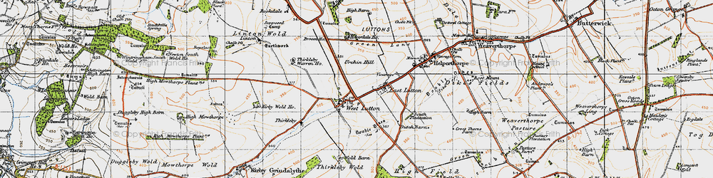 Old map of Whin Moor in 1947