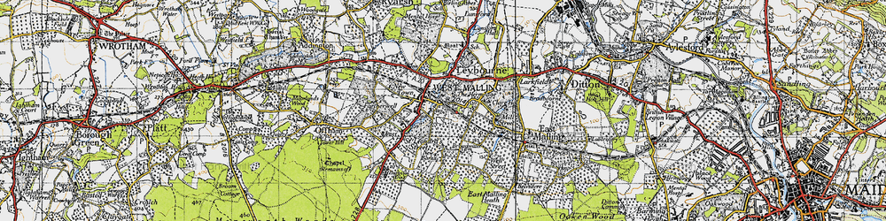 Old map of West Malling in 1946